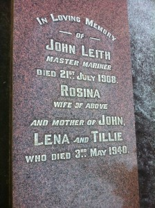 Headstone of John and Rosina Leith at Oakleigh Pioneer Cemetery. Photo courtesy of Billion Graves Project