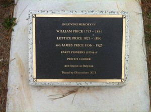 Memorial marker for James Price, His mother Lettice Price and father, William Price. Placed by their descendants. Photo courtesy of Billion Graves Project.