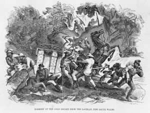 Drawing is of a similar robbery at Lachlan, N.S.W. and courtesy of of State Library of Victoria.