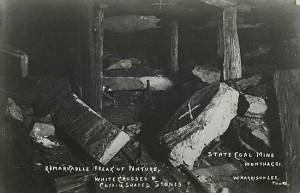 In 1913, two miners were killed when these coffin shaped stones fell from the roof of the Wonthaggi mine. Image courtesy of Museum Victoria.