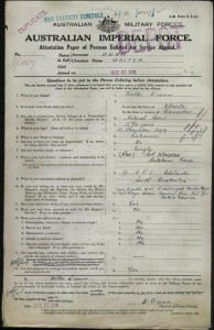Army record for Walter Dunn, courtesy of The National Archives of Australia.