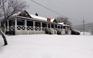The Snow Covered Bendoc Pub circa 2014. Photo courtesy of Margaret Weir and Graham Beever